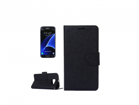 θηκη για Samsung Galaxy S7 G930 Cross Texture Horizontal Flip Solid Color Leather Case with Holder & Card Slots & Wallet (Black)