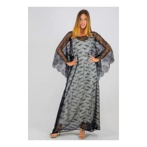 Τουνίκ Δαντέλα μακριά σε στυλ κιμονό με στρογγυλή λαιμόκοψη και ραφές στο πλάι.